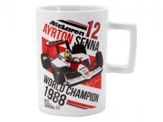 Ayrton Senna tazza 3 volte mondo campione bianco