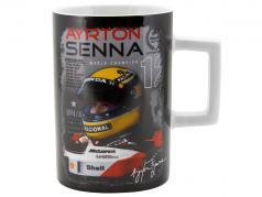 Ayrton Senna tazza 3 volte mondo campione nero