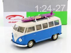 Volkswagen VW T1 Bus year 1963 with surfboard blue / white 1:24 Welly