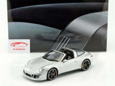 Porsche 911 (991) Targa 4S RHD Year 2015 silver With Showcase 1:18 GT-SPIRIT
