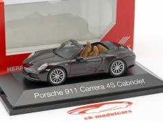Porsche 911 (991) Carrera 4S Cabriolet brown metallic 1:43 Herpa