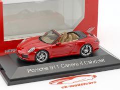 Porsche 911 (991) Carrera 4 Cabriolet red 1:43 Herpa