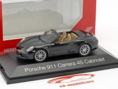 Porsche 911 (991) Carrera 4S Cabriolet black 1:43 Herpa