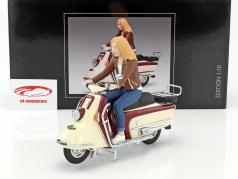 Heinkel scooter year 1960-1965 dark red / beige with driver figure 1:10 Schuco