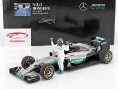 Nico Rosberg Mercedes F1 W07 Hybrid #6 campione del mondo formula 1 2016 con autista cifra 1:18 Minichamps