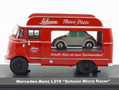 Mercedes-Benz L319 Advertising Car Micro Racer with Piccolo VW Beetle red / white 1:43 Schuco