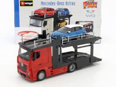 Mercedes-Benz Actros Autotransporter rot / schwarz mit Renault Captur blau metallic 1:43 Bburago