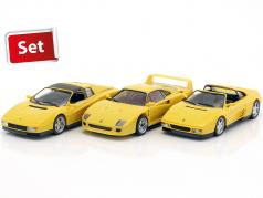 3-Car set Ferrari 348 TS, F40 & Testarossa Spyder yellow 1:43 Herpa