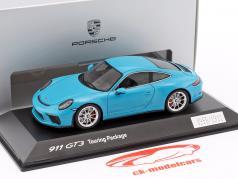 Porsche 911 (991 II) GT3 Touring Package 2017 Miami blue 1:43 Spark