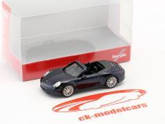 Porsche 911 (991) Carrera 4S Cabriolet bleu foncé métallique 1:87 Herpa