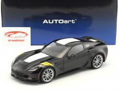Chevrolet Corvette C7 Grand Sport year 2017 black with white stripes 1:18 AUTOart