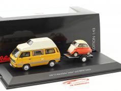 Volkswagen VW T3 Joker camper with car trailer and BMW Isetta yellow / red / White 1:43 Schuco