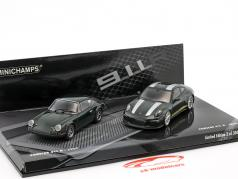 2-Car Set Porsche 911 R year 1967 & Porsche 911 R year 2016 dark green 1:43 Minichamps