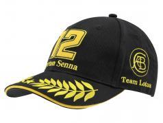 Ayrton Senna Cap #12 Classic Team Lotus noir / or