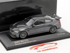 BMW M4 GTS Baujahr 2016 mineralgrau metallic mit grauen Rädern 1:43 Minichamps