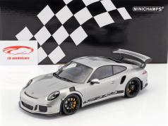Porsche 911 (991) GT3 RS year 2015 silver / black rims 1:18 Minichamps