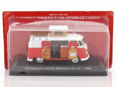 Volkswagen VW T1 Kombi Westfalia camper SO 42 year 1966 red / white 1:43 Atlas