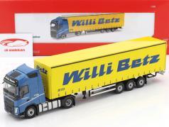 Volvo FH Globetrotter Lowliner semirimorchio Willi Betz blu / giallo 1:50 Herpa