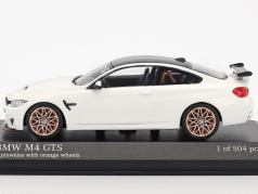 BMW M4 GTS year 2016 alpine white with orange wheels 1:43 Minichamps