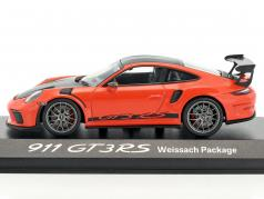 Porsche 911 (991 II) GT3 RS Weissach Package лава оранжевый / черный 1:43 Minichamps