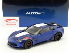 Chevrolet Corvette C7 Grand Sport year 2017 blue with white stripes 1:18 AUTOart