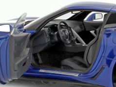 Chevrolet Corvette C7 Grand Sport year 2017 blue with white stripes 1:18 AUTOart