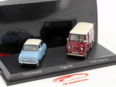 2-Car Set Goggomobil T250 Limousine und Goggomobil TL400 Kleintransporter hellblau / dunkelrot 1:43 Schuco