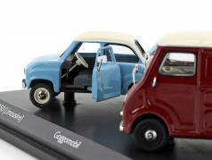2-Car Set Goggomobil T250 limousine und Goggomobil TL400 van light blue / dark red 1:43 Schuco