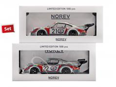 2-Car Set Porsche 911 Carrera RSR 2.1 #21 et #22 24h LeMans 1974 Martini Racing 1:18 Norev
