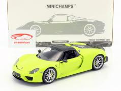 Porsche 918 Spyder Weissach Package année de construction 2015 brillant vert 1:18 Minichamps