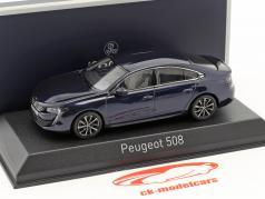 Peugeot 508 year 2018 dark blue metallic 1:43 Norev