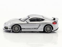 Porsche Cayman GT4  year 2016 silver with black stripe 1:87 Minichamps