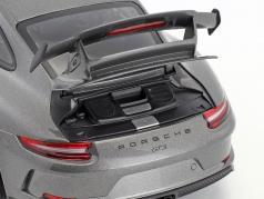 Porsche 911 (991 II) GT3 ano de construção 2017 cinza ágata metálico 1:18 Minichamps