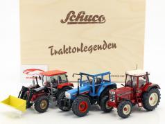 3-Car Set leggende trattore con IHC 1255XL, Eicher 3125, Schlüter Compact 1250 TV6 in scatola di legno 1:32 Schuco
