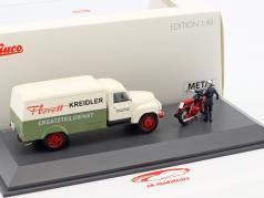 Hanomag L28 box van with Kreidler Florett and driver figure white / green / red 1:43 Schuco