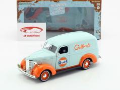 Chevrolet Panel Truck Gulf Oil anno di costruzione 1939 azzurro / arancione 1:24 Greenlight