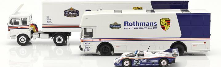 Set of three Porsche racing transporters in 1:43