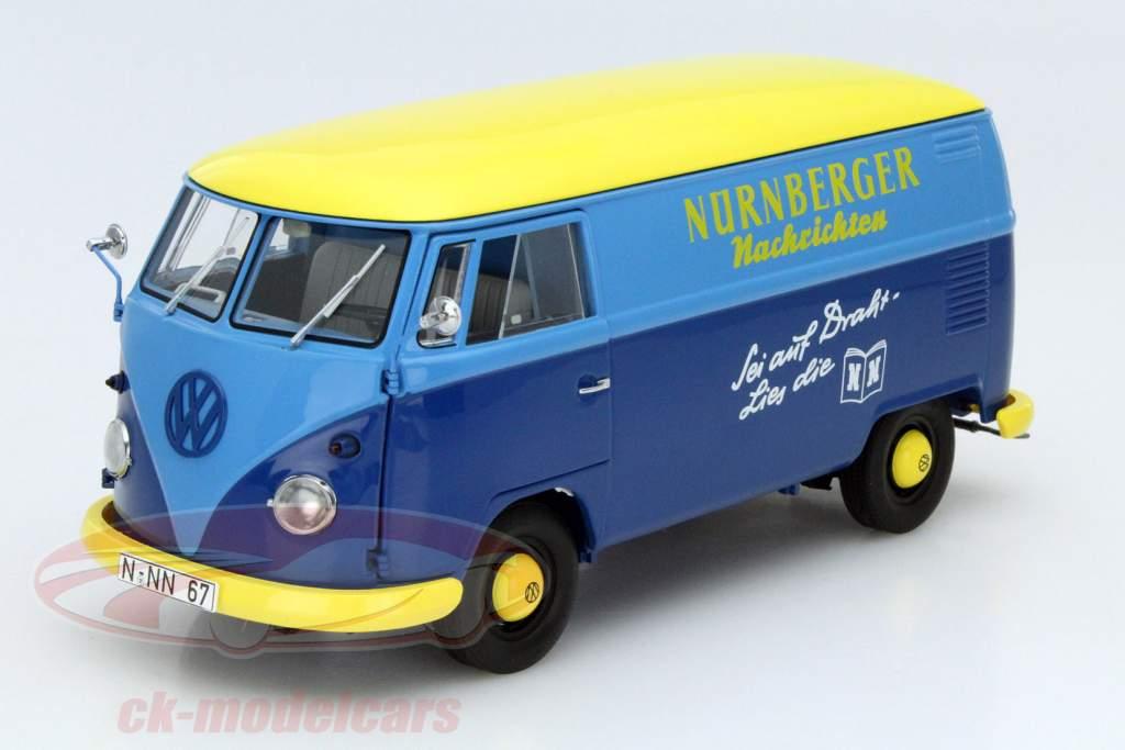 Volkswagen VW T1 transporter Nürnberger Nachrichten blue / yellow 1:18 Schuco