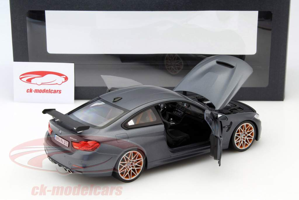 BMW M4 F82 GTS Year 2016 mat gray / orange 1:18 Minichamps