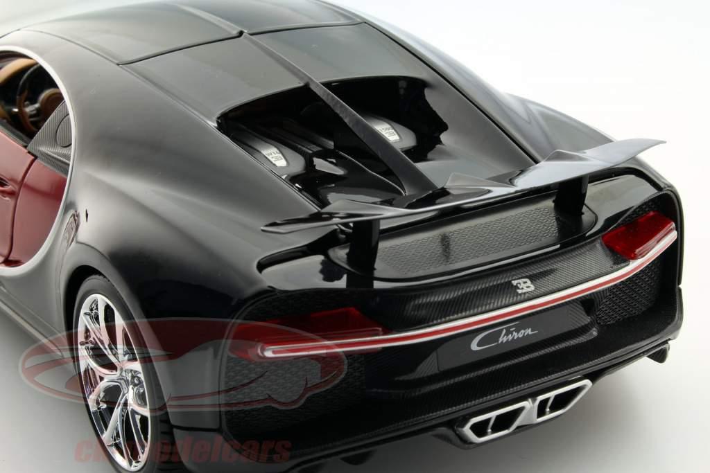 Bugatti Chiron Year 2016 red / black 1:18 Bburago