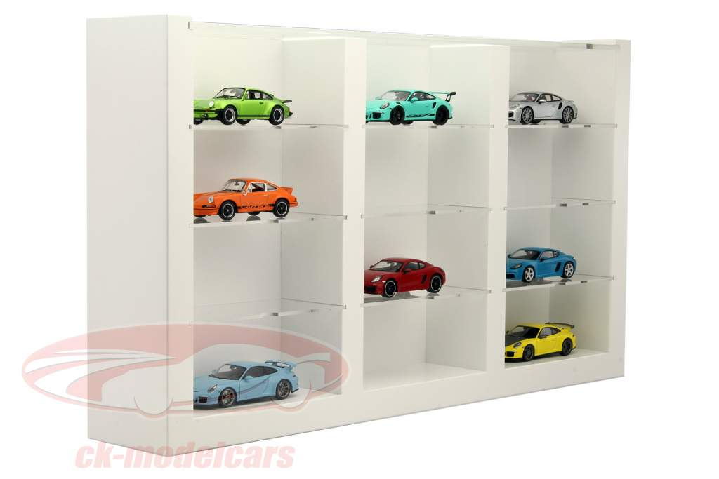 ck modelcars wax05020616 hochwertige vitrine aus holz f r 12 modellautos wei 1 43 porsche. Black Bedroom Furniture Sets. Home Design Ideas