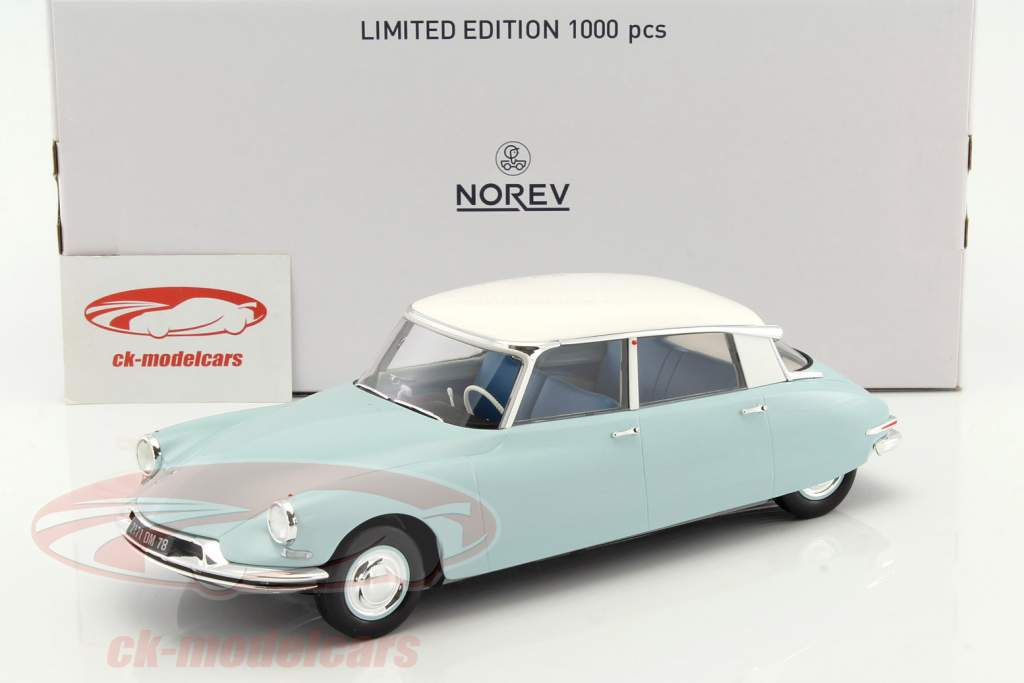 Citroen DS 19 year 1959 light blue / white 1:18 Norev