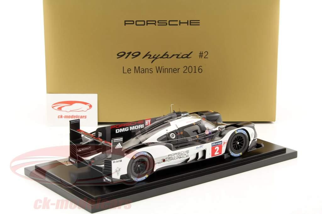 Porsche 919 Hybrid #2 Winner 24h LeMans 2016 Lieb, Dumas, Jani with Showcase 1:18 Spark