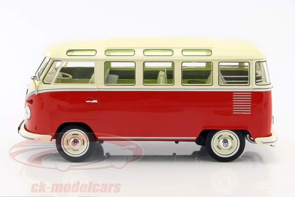ck modelcars kkdc180151 volkswagen vw bulli t1 samba year 1962 red cream 1 18 kk scale. Black Bedroom Furniture Sets. Home Design Ideas
