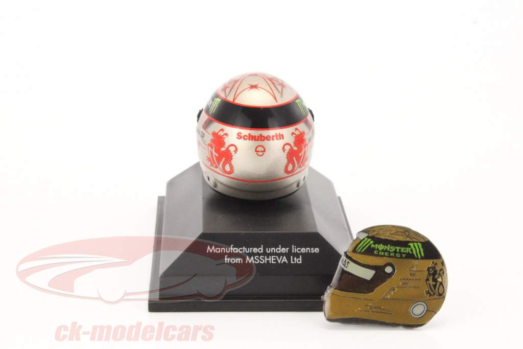 M. Schumacher helmet and pin Set 300th GP F1 2012 + golden helmet pin 1:8 Schuberth