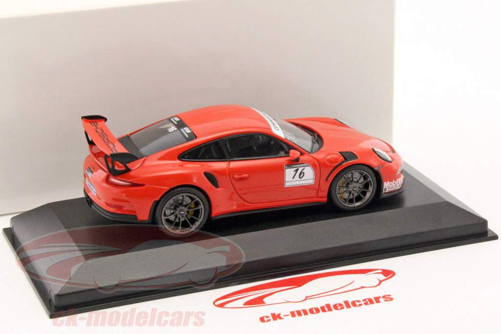 Porsche 911 (991) GT3 RS #16 Porsche Sports Cup Promo Car lava orange 1:43 Minichamps