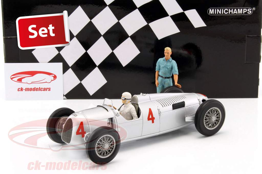Set: Figutec figure mechanic + Auto Union Typ C #4 2nd GP Monaco 1936 Varzi 1:18 Minichamps