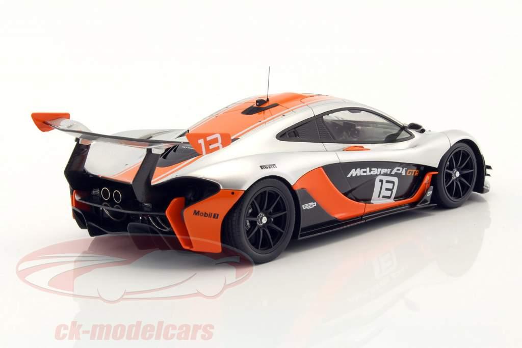ck-modelcars - tsm181006r: mclaren p1 gtr #13 silber / orange 1:18