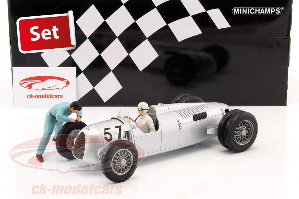 Set: Figutec figure   Auto Union Typ C #57 Winner Shelsley Walsh Hillclimb 1936 Stuck 1:18 Minichamps