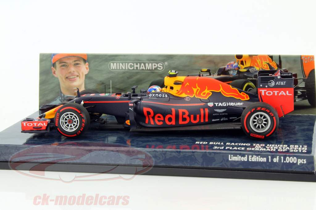 ck modelcars 417160833 max verstappen red bull rb12 33 3 allemagne gp formule 1 2016 1 43. Black Bedroom Furniture Sets. Home Design Ideas